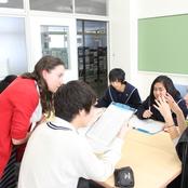 辰巳丘高校で語学交流会